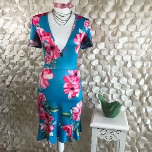 Small Blue & Pink Tropical Floral Backless Dress